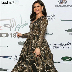 Image 1 - 2019 Modest Plus Size Celebrity Dresses A line Formal Long Sleeve Sequin Evening Red Carpet Gowns Runaway Grand Show Dresses