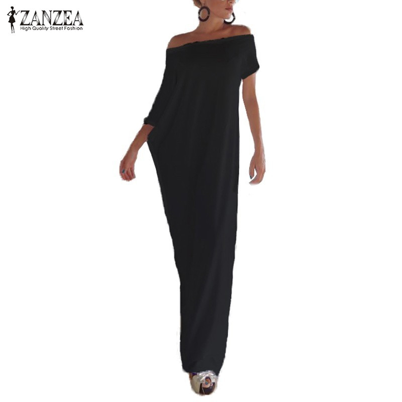 Zanzea Fashion Women Summer Dress 2017 Boho Casual Irregular Long Maxi Party Dresses Sexy Solid Vestidos Plus Size S-3XL