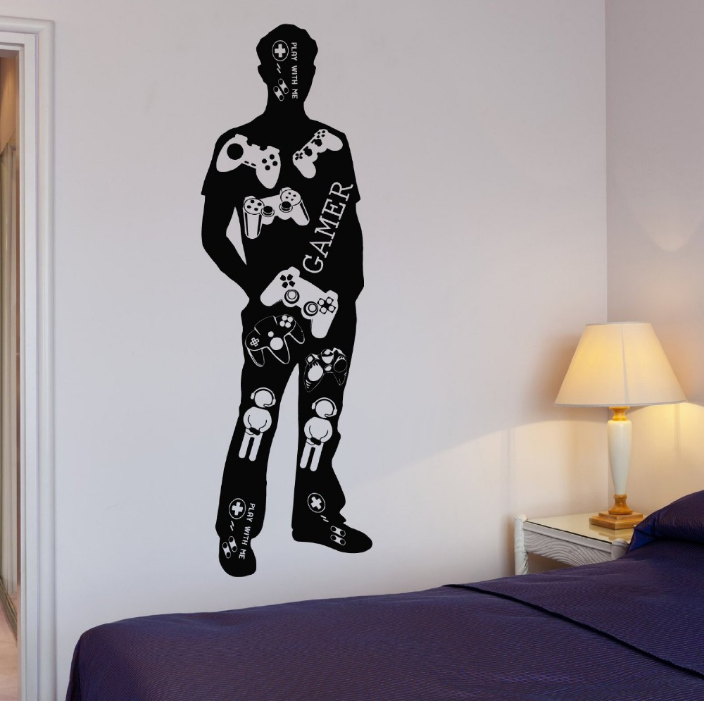 Creative Gamer Body Wall Decal Gamer Video Game Teen Play