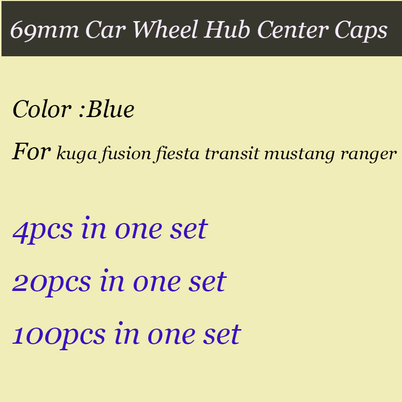 Good quality 69mm Blue for kuga fusion fiesta transit mustang Car wheel Hub Covers Auto  ...