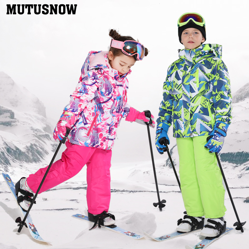 Super Warm Kids Ski Suit Children Brands Waterproof Warm Girls Boy Snow Jacket Pants Winter Skiing Snowboarding Clothes Child