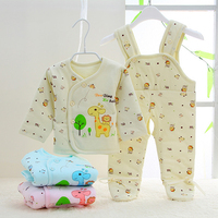 Newborn Infant 100% Cotton Baby Boy Girl Warm Two Piece Top and Pant Suit Brace Overall Pants Cartoon Baby Warmer Clothing Set