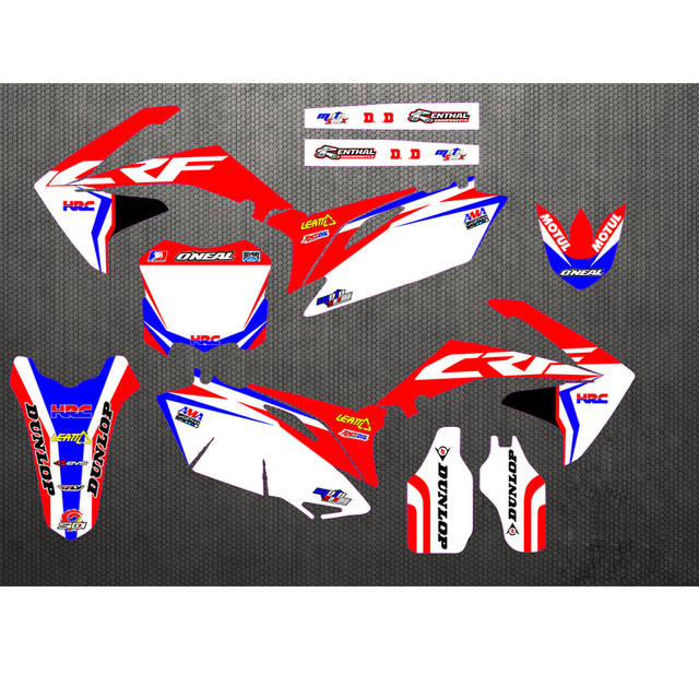 Custom Number Team Graphics Backgrounds Decals Stickers For Honda