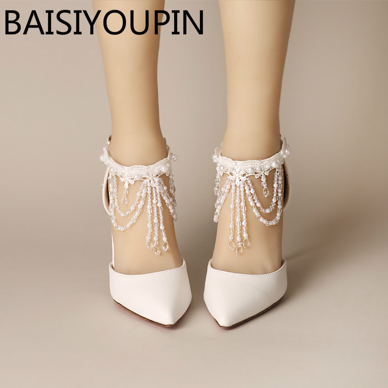 White Crystal Tassel Wristband Women Wedding Shoes 7cm 9cm High Heels Shoes Baotou Bride Shoes Red Bottom Two Pieces Sandals 2017 white lace butterfly crystal pendant with ultra fine pointed high heeled shoes the bride wedding shoes wristband sandals