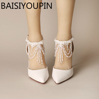 White Crystal Tassel Wristband Women Wedding Shoes 7cm 9cm High Heels Shoes Baotou Bride Shoes Red Bottom Two Pieces Sandals