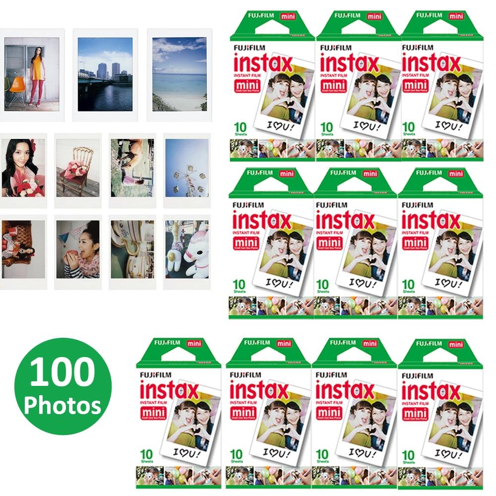 Prix pour 100 feuilles fujifilm instax mini film pour fuji instax mini 7 s 8 70 25 50 s 90 Instant Photo Caméra Partager SP-1 SP-2 Blanc Film