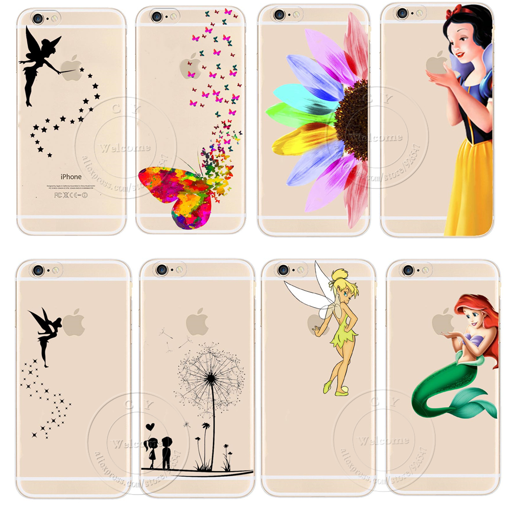 Tinker Bell Butterfly Cat Snow White Little Mermaid Cartoon Cute Design Case Cover For Apple iPhone 4 4S 5 5S 5C 6 6S 6 Plus bic 0.5 mm mechanical pencil