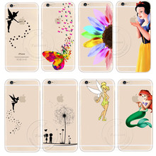 Tinker Bell Butterfly Cat Snow White Little Mermaid Cartoon Case Cover For Apple iPhone X 4 4S 5 5S SE 5C 6 6S 7 8 Plus Coque(China)