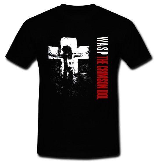 Shirt Maker Mens Crew Neck W.A.S.P.The Crimson Idol Heavy Metal Band Cinderella Black T-Shirt Size S To 3XL Short Top T Shirt