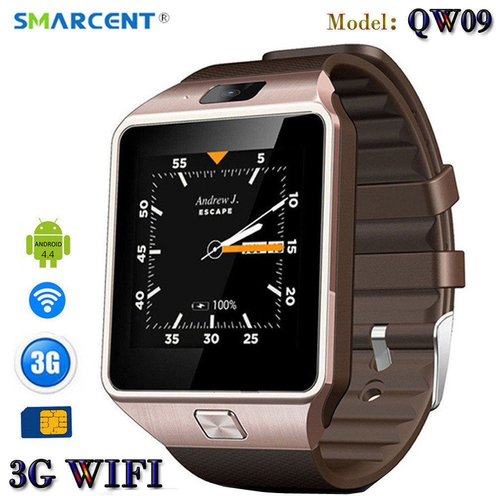 SMARCENT QW09 3G WI-FI Android Relógio Inteligente Bluetooth 4.0 Real-Chamada Do Cartão SIM Anti-perdida Smartwatch Pedômetro PK DZ09 GT08