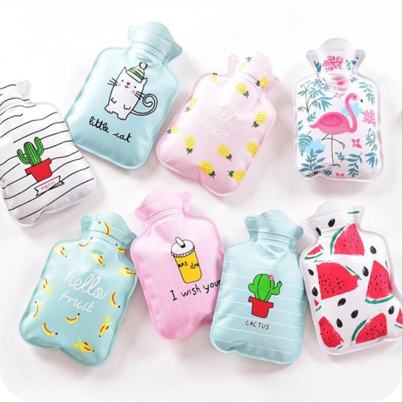 Hot Water Bottle Hand Warmer Bag Cute Cartoon Cat Flamingo Cactus Girls Pocket Hand Feet Warm Hot Water Filling Bag Bottle R5 цена и фото
