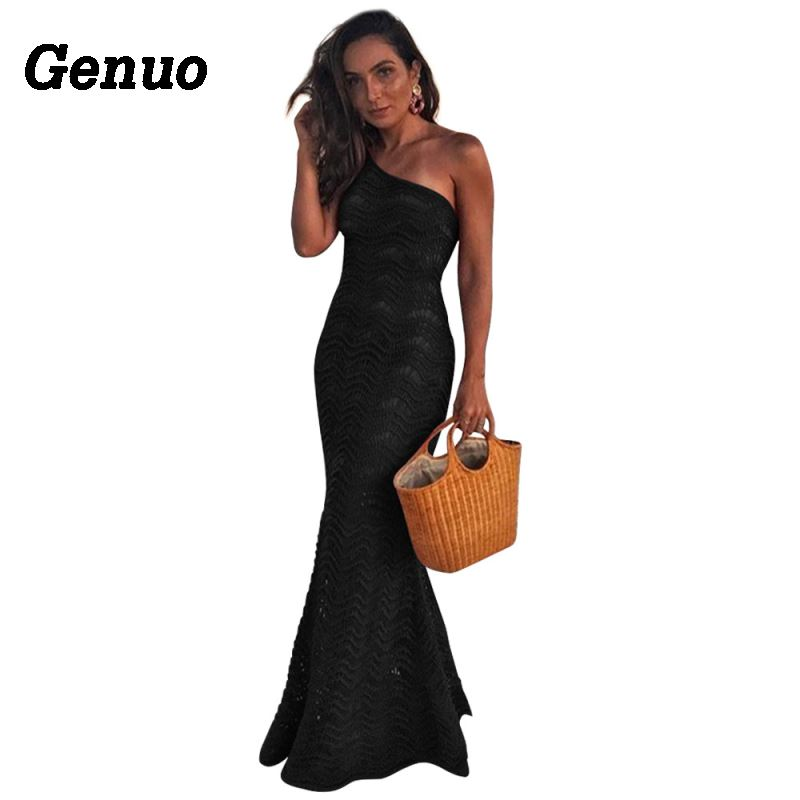 Genuo Women Sexy Bandage Dress Vestidos One Shoulder Sleeveless Lace Bodycon Nightclub Party Dress Celebrity Evening Maxi Dress in Dresses from Women 39 s Clothing