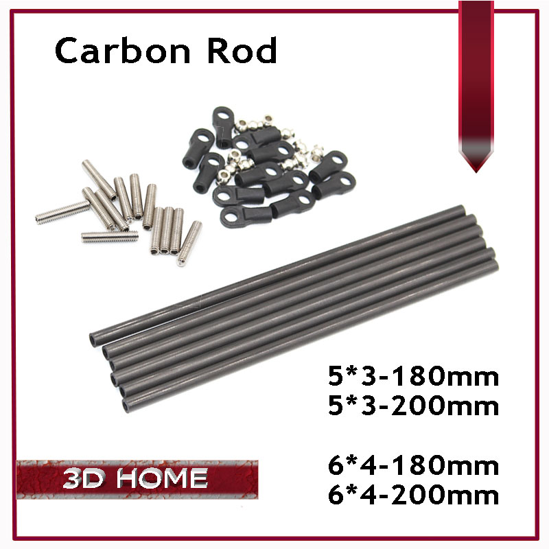 6pcs/set Delta Kossel 3D Printer 180/200MM Length Parallel Arm Fisheye Carbon Rod K800 Mini 5347 Upgrade Diagonal Push Rods