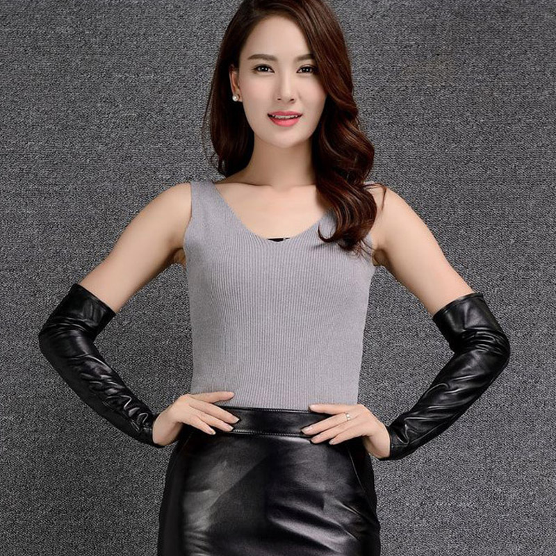 2018 Ladies Genuine Leather Glove Arm Sleeve 40cm Leather Warmer Leather Sleeve Women Sheepskin Gloves Female Plus Velvet Thic