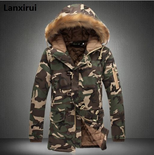 Leopard Camouflage Down Jackets 2018 Military   Parka   Fashion Brand Men 'S Camo Fashion Snow Mens Winter Coats Fast Shipping