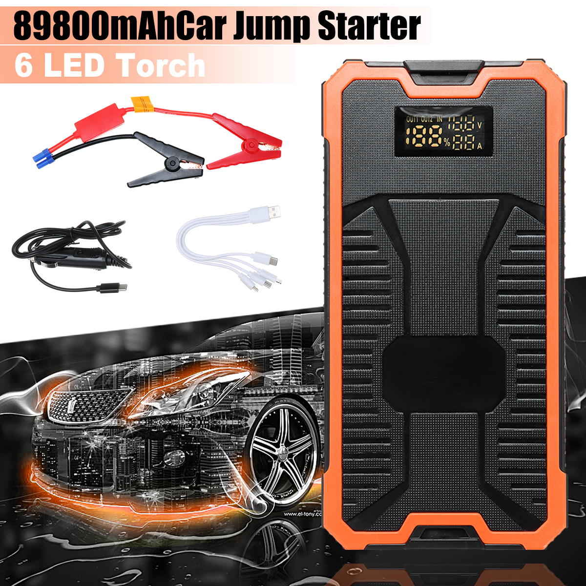 Car Jump Starter Emergency 89800mAh 12V Starting Device SOS LED Light Mobile Power Bank Car Fast Charger For Car Battery Booster 89800mah led emergency car jump starter 12v 4usb charger battery power bank portable car battery booster charger starting device