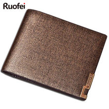 2017 men Leather Brand Luxury Wallet Vintage Minimalist Short Slim Male Purses Money Clip Credit Card Dollar Price  men wallet leather vintage purses high quality money bag credit card holders new dollar bill scrub short wallet wholesale price