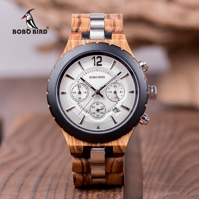 Homens Relógio Relogio masculino BOBO PÁSSARO de Madeira Relógios Cronógrafo de Quartzo Militar Relógios dos homens de Luxo Elegante Grande Presente