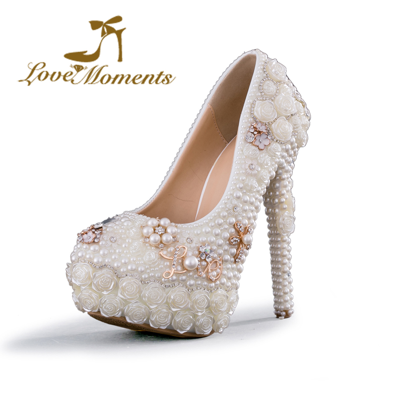 ФОТО Love Moments handmade white wedding shoes bde pearl and flowers platform high heels pumps women shoes party shoes for woman