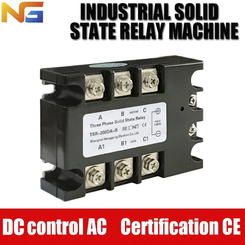 Shanghai Nenggong industrial-grade Three-phase Solid State Relay 200A DC control AC DC - AC SSR Voltage Regulator free shipping 1pc industrial use 200a dc ac solid state relay quality dc ac 220v h3200z 200a mager ssr