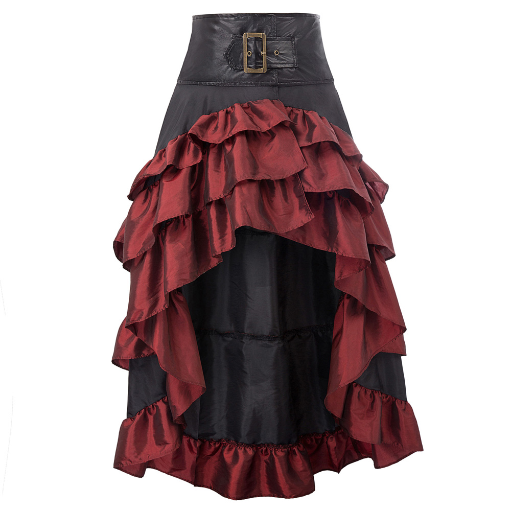 Retro Womens Casual Steampunk Gothic Open Front Ruffled Lace High-Low Skirt