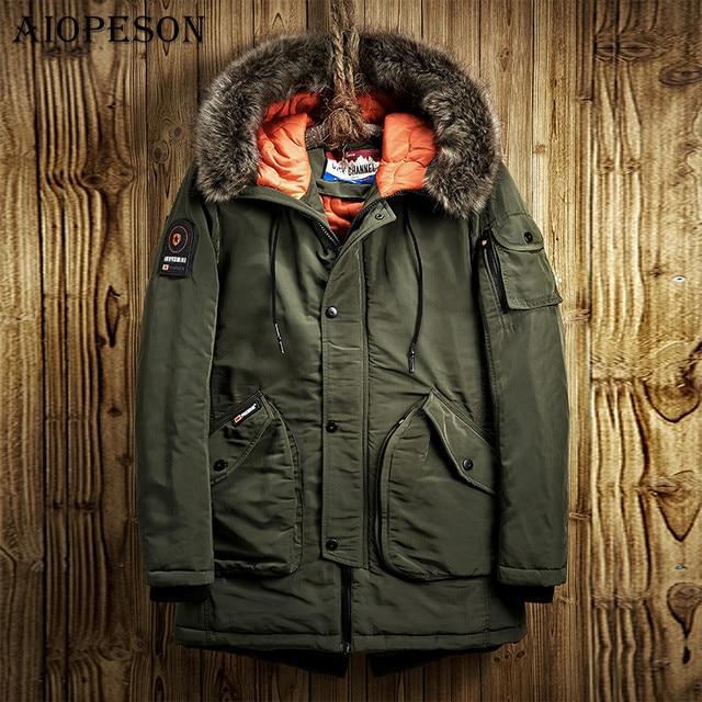 Aiopeson зимняя куртка Для мужчин Повседневные куртки одноцветное Цвет большой карман высокое качество Зимняя мужская куртка Мех животных с капюшоном теплое зимнее пальто