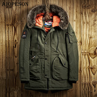 AIOPESON Winter Jacket Men Casual Parkas Solid Color Big Pocket High Quality Winter Male Jacket Fur Hoodie Thick Winter Coat