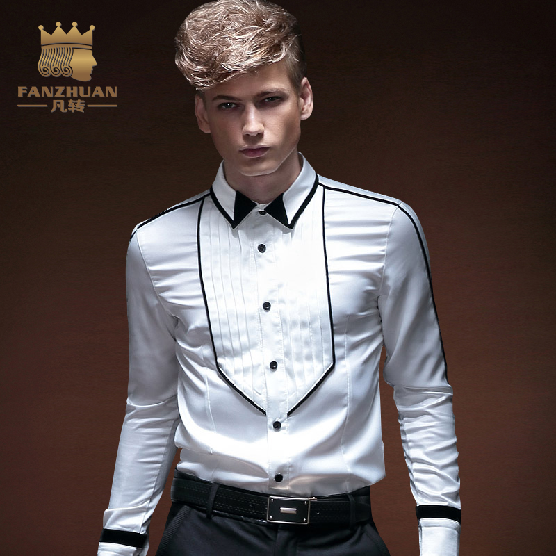 FANZHUAN Brands Clothing Men Shirt 2017 Male High Quality Long Sleeve Shirt Casual Solid Color Slim Fit White Man Dress Shirts