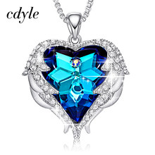 Cdyle Crystals from Swarovski Necklaces Fashion Jewelry For Women Pendant 2018 Blue Rhinestone Heart Of Angel Christmas Gifts(China)