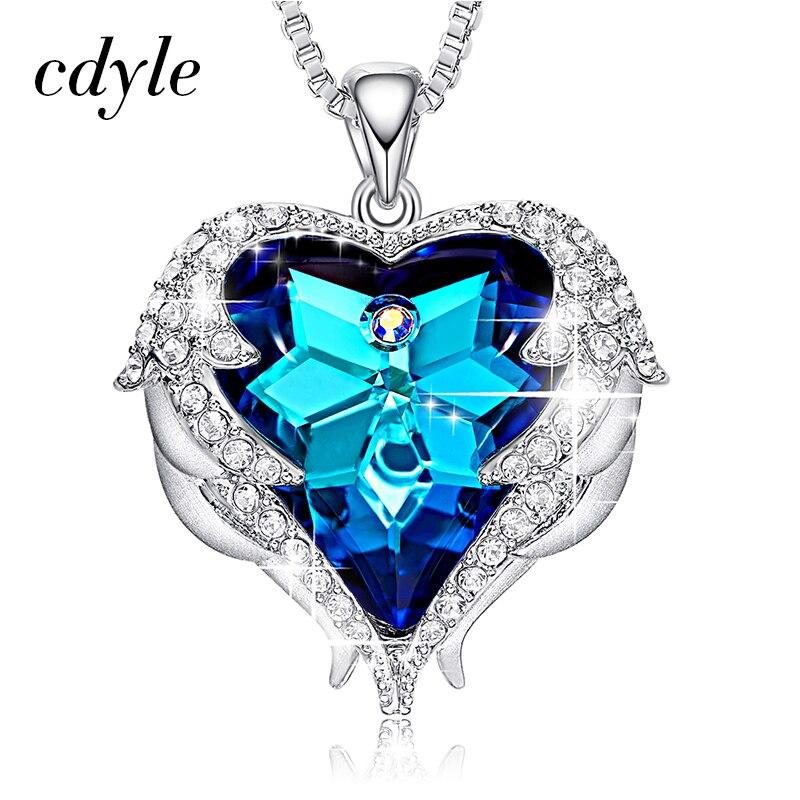 Cdyle Kristalle von Swarovski Halsketten Mode Schmuck Für Frauen Anhänger Blau Strass Herz Von Engel Liebhaber Valentins Geschenke