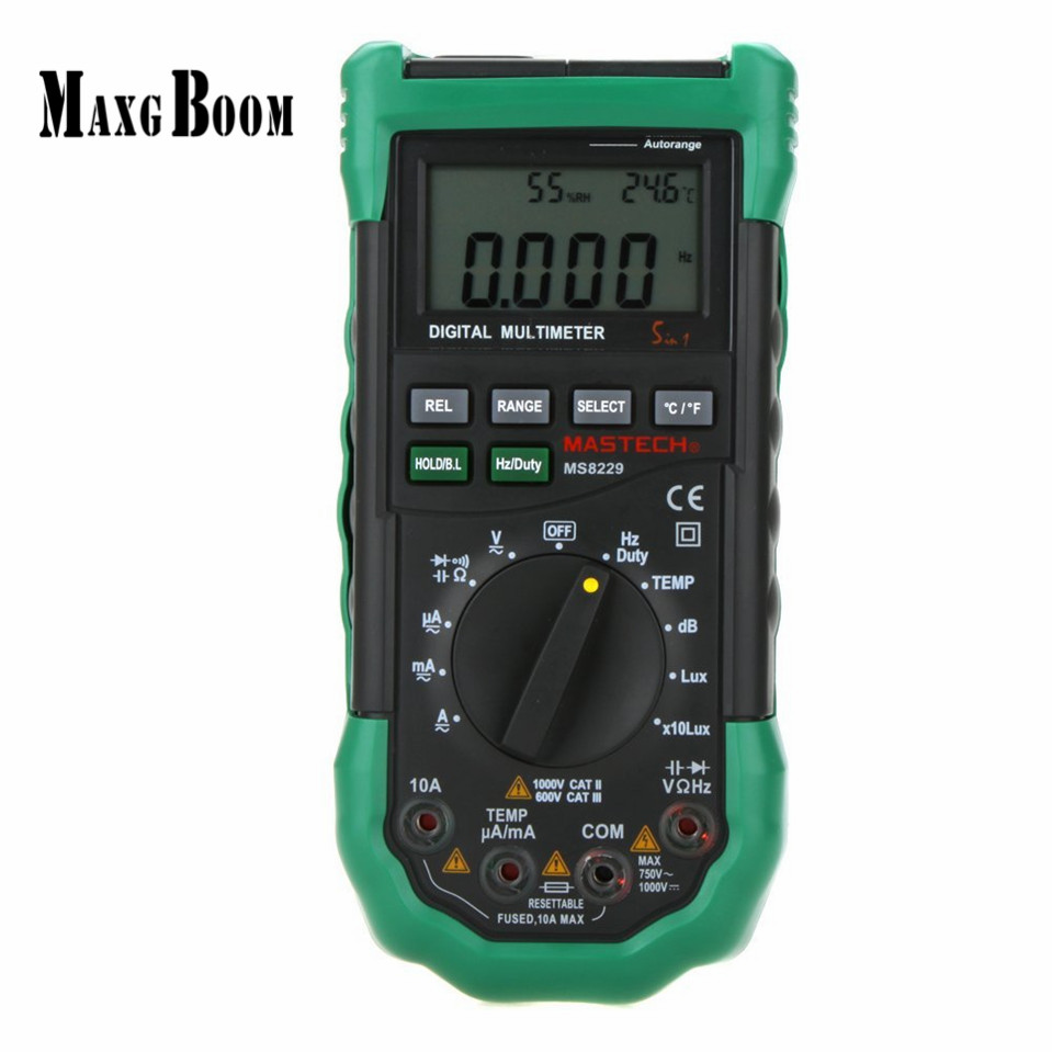 Original Mastech MS8229 5 in1 Auto range Digital Multimeter Multifunction Lux Sound Level Temperature Humidity Tester Meter digital indoor air quality carbon dioxide meter temperature rh humidity twa stel display 99 points made in taiwan co2 monitor