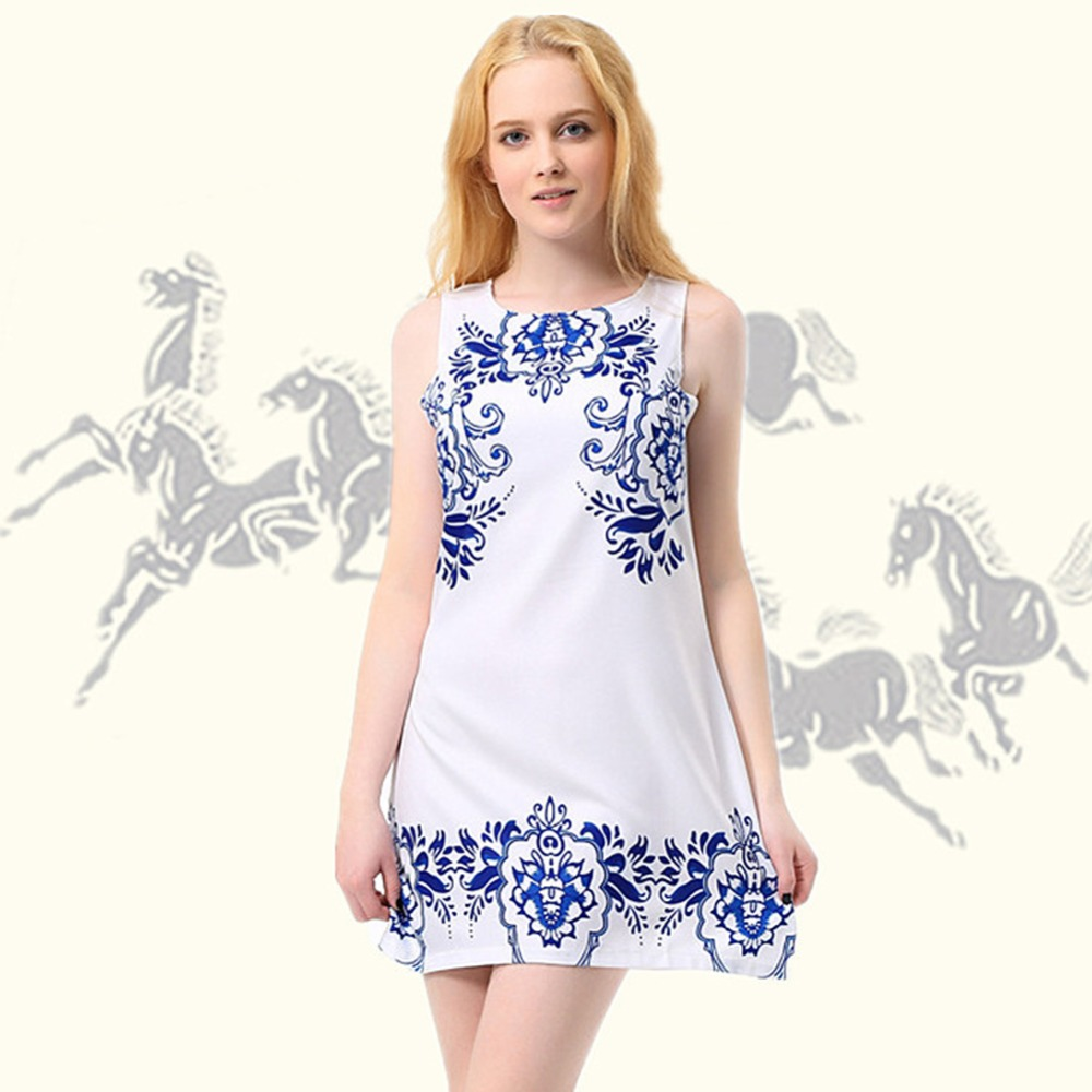2017 hot summer dress mujeres de la manera sin mangas azul y blanco de porcelana