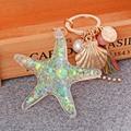 Completo gold Filled con Com Strass Crystal Rhinestone Starfish Keyholder que cuelga el llavero para las mujeres bolso o teléfono móvil o colgante del coche