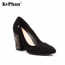 KvPhan Russian Folk-custom High heel women shoe Square Heels Dress Women Shoes Black Sheepskin Leather Slip-on Mouth Party Shoe