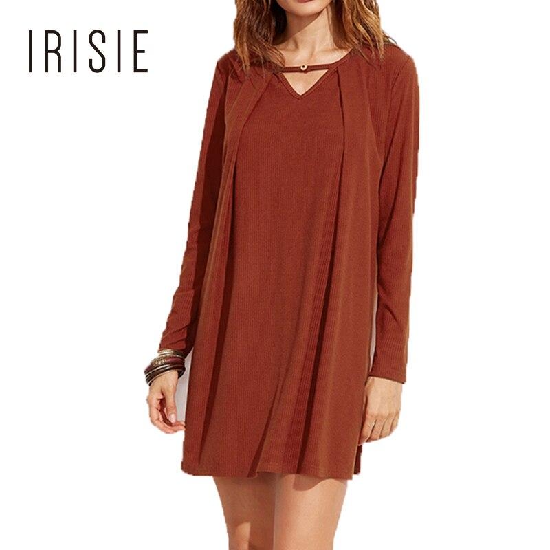 IRISIE 2018 Summer Elegant Pleated Casual Dress Solid Orange Loose Knitted Long Sleeve Mini Dress V Neck Fashion A-line Dress