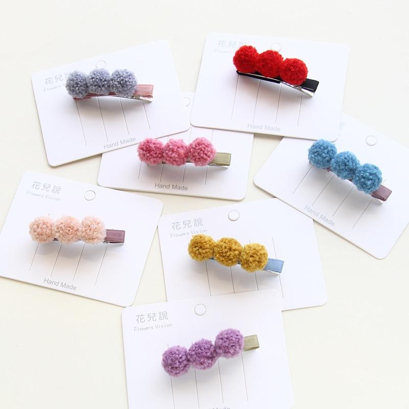 Child Girls Hair Accessories Pompom Soft Ball Kid Hair Clip Hairpins Candy Color Barrettes Cute Hair Clips Headwear