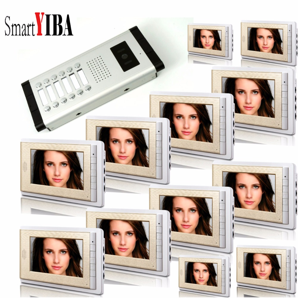 SmartYIBA Video Intercom 7''Inch LCD Wired Video Door Phone Doorbell Speakerphone Intercom Camera Monitor System For 12 Units 7 inch video doorbell tft lcd hd screen wired video doorphone for villa one monitor with one metal outdoor unit night vision