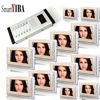 SmartYIBA Video Intercom 7''Inch LCD Wired Video Door Phone Doorbell Speakerphone Intercom Camera Monitor System For 12 Units