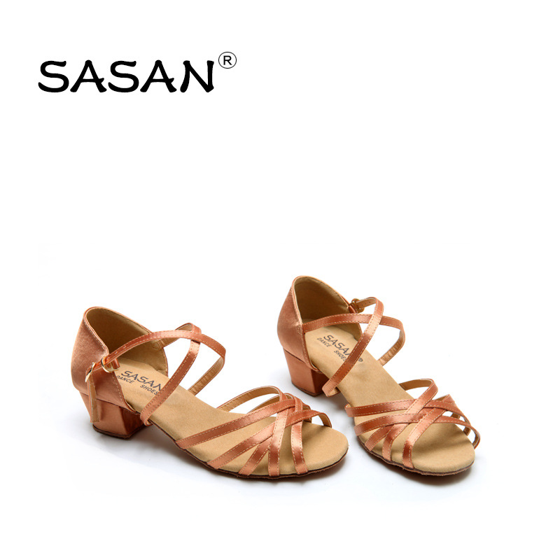 SASAN Latin Dance Shoes Female Girl Children s National Standard Dance Shoes In The Low Heel