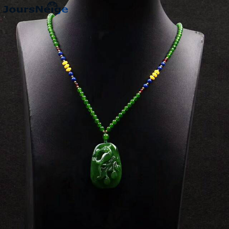 Fine Carving Green Hetian Natural Stone Pendants Magpie and Plum Pendant Beads Sweater Chain Necklace For Men Women Jewelry vintage beads feather leaf sweater chain and a pair of earrings for women