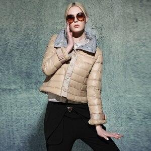 Image 1 - Ynzzu 뜨거운 판매 새로운 여성 울트라 라이트 다운 재킷 패션 짧은 슬림 코트 여성 오버코트 도매 드롭 배송 ao021