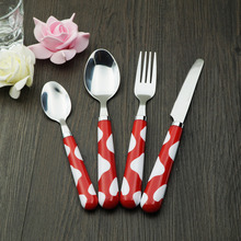 Plastic Cutlery Set 24 Pieces Western Dinnerware Kids Flatware Spoon Knife Fork Color Handle Quality And Cheap Tableware