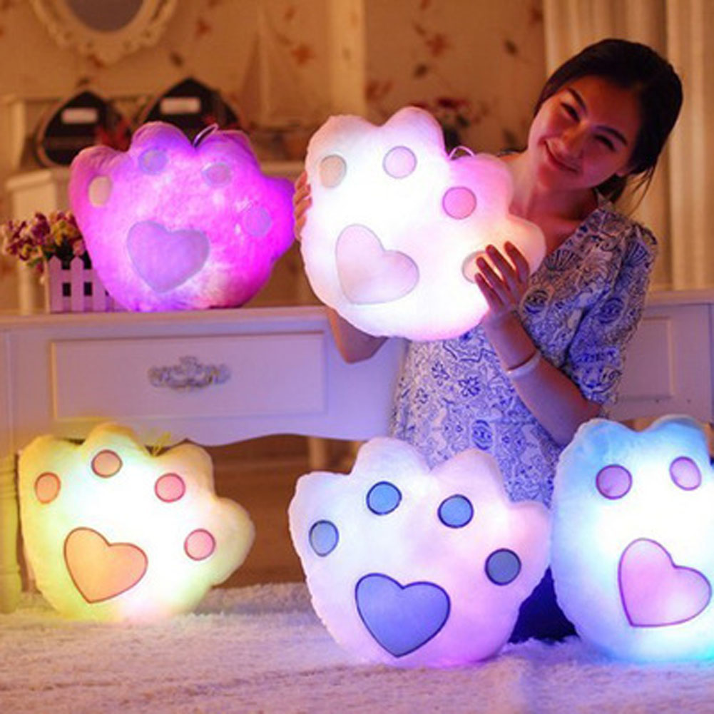 Color Random New Hot Sale Colorful LED Luminous Music Bear Paw Plush Pillow Soft Kids Toys