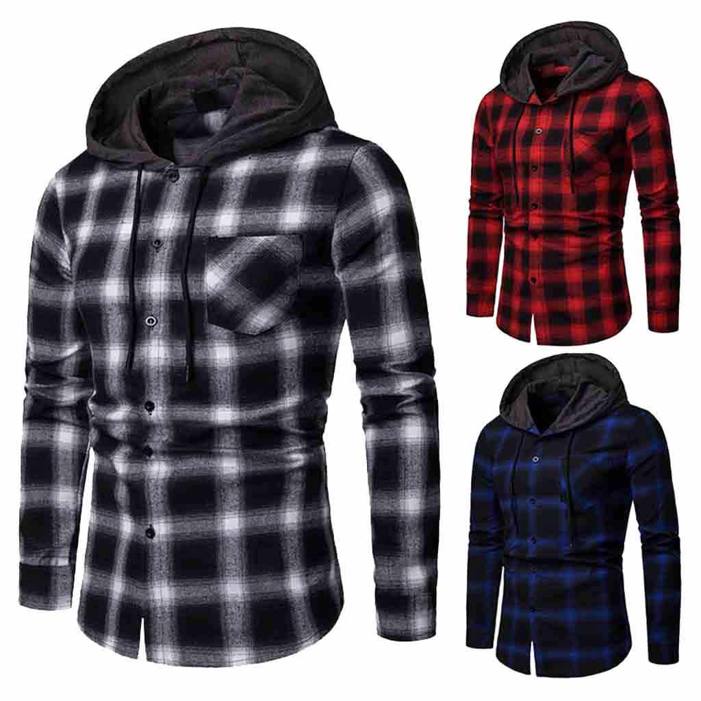 2019 Nieuwe Klassieke Plaid Shirts Mannen Mode Hooded Casual Shirts Man Lente Herfst Heren Kleding Gedrukt Shirts Hiphop Streetwear