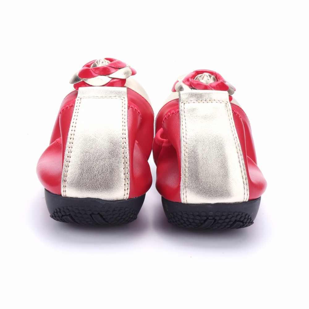 Moda marka kadın ayakkabı konfor yuvarlak ayak hakiki deri balerin katlanabilir düz ayakkabı çiçek tasarım kız loafer'lar artı boyutu