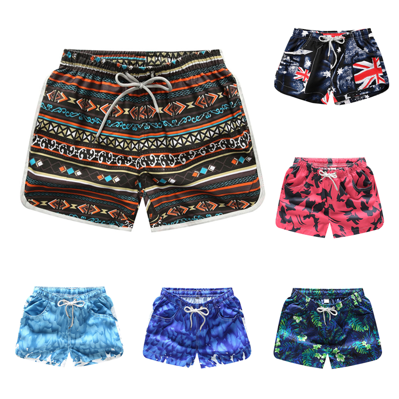 Shorts   Women Bottoms Anti-UV Quick Dry   Shorts   Printing Swimming Surfing   Shorts   Summer Draw String Elastic Waist   Shorts