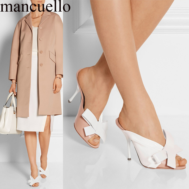 Women Patched Color Bowtie Slippers Slingback High Heels Sandals Butterfly Knot Leisure Flip flops Runway Shoes plus size 34- 43