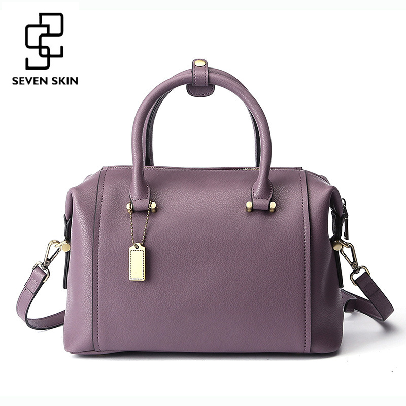 Famous Brand Women Genuine Leather Handbag New Fashion Casual Tote Bags Ladies Elegant Boston Bag Shoulder Pillow Bag sac a main 6color women genuine leather handbags famous brand handbag messenger small bags cow leather shoulder bag fashion tote sac a main