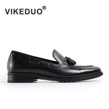 Vikeduo 2019 Vintage Designer Fashion Wedding Party Black Leisure Male Casual Shoe Genuine Leather Men's Loafer Dress Shoes