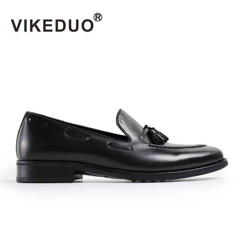 Vikeduo 2019 Vintage de moda negro de ocio Hombre Zapatos casuales de cuero genuino de los hombres holgazán Zapatos de vestir
